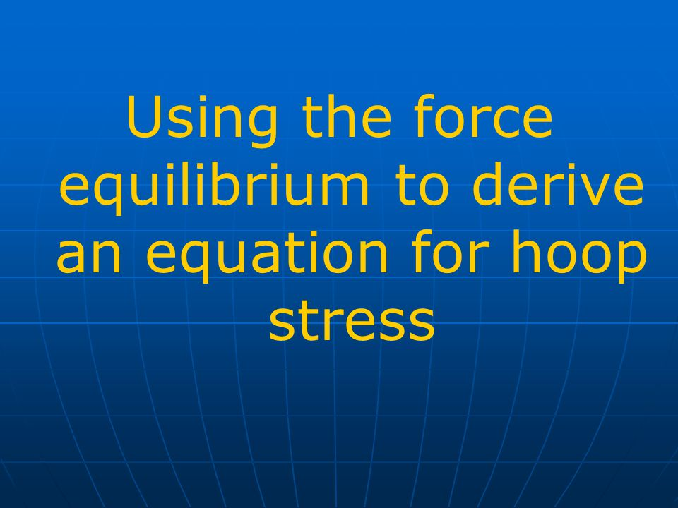 Using the force equilibrium to derive an equation for hoop stress