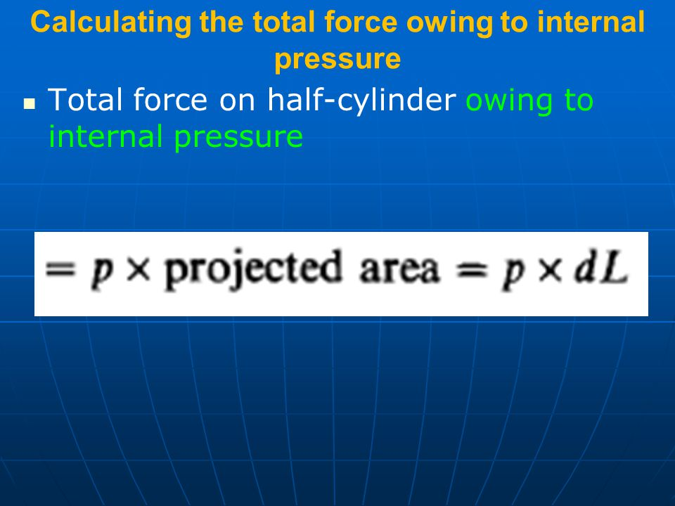 Calculating the total force owing to internal pressure