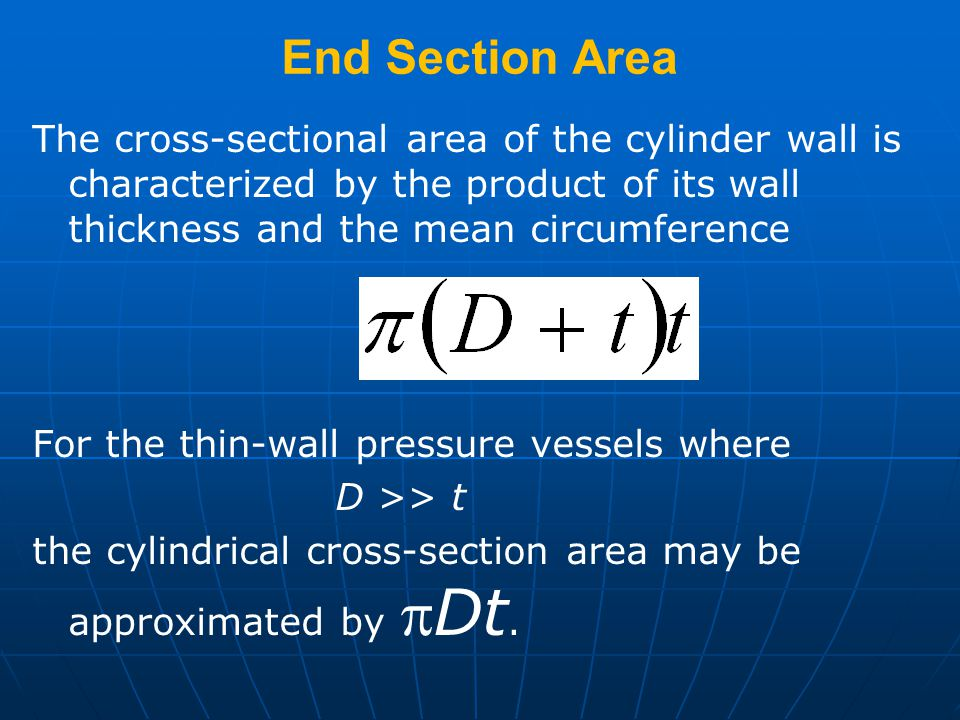 End Section Area The cross-sectional area of the cylinder wall is characterized by the product of its wall thickness and the mean circumference.