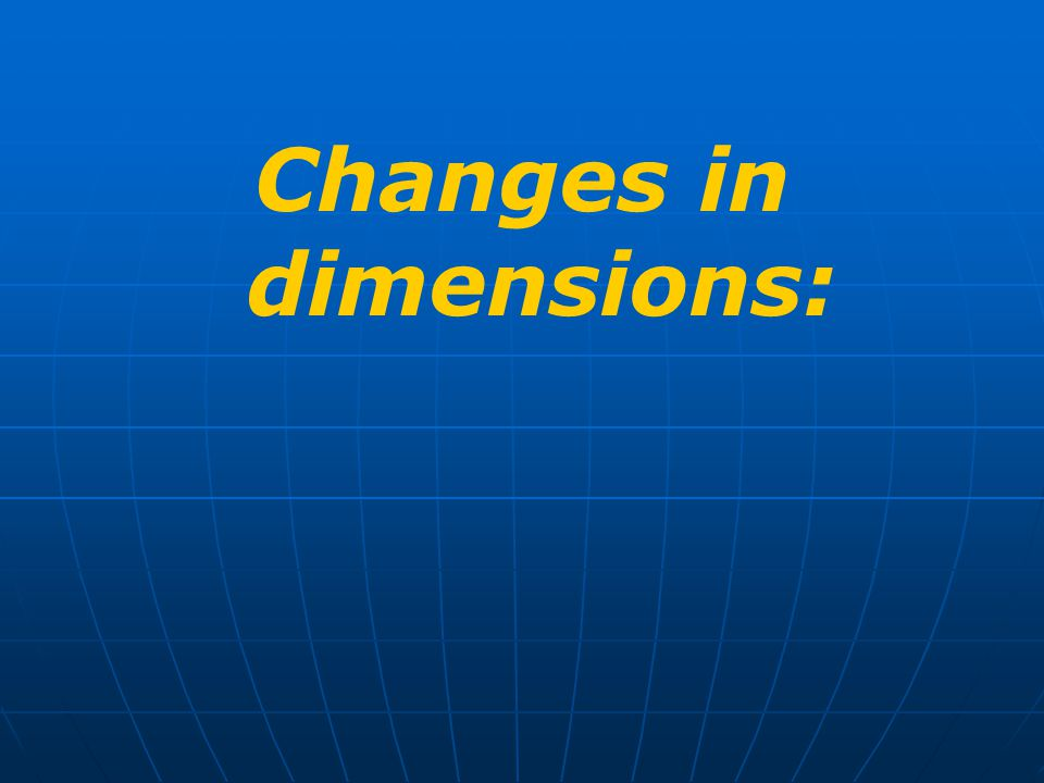 Changes in dimensions: