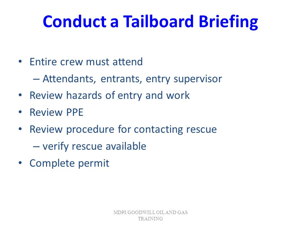 Conduct a Tailboard Briefing