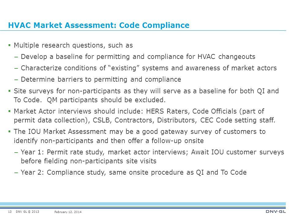 HVAC Market Assessment: Code Compliance