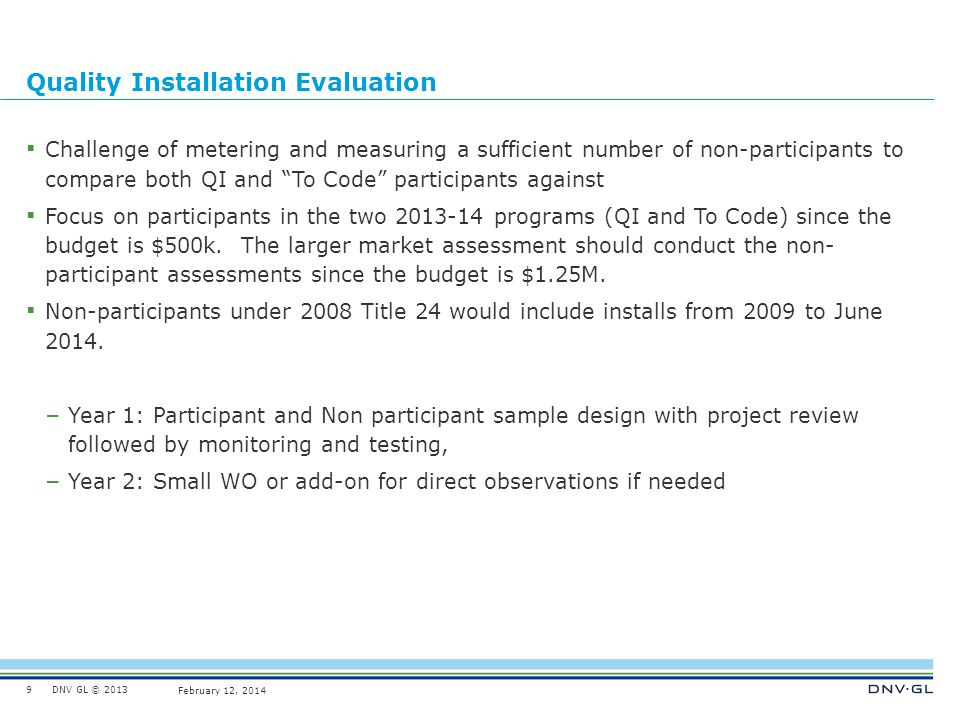 Quality Installation Evaluation