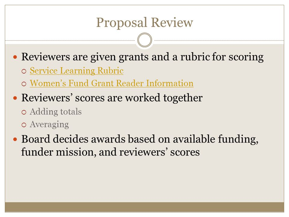 Proposal Review Reviewers are given grants and a rubric for scoring