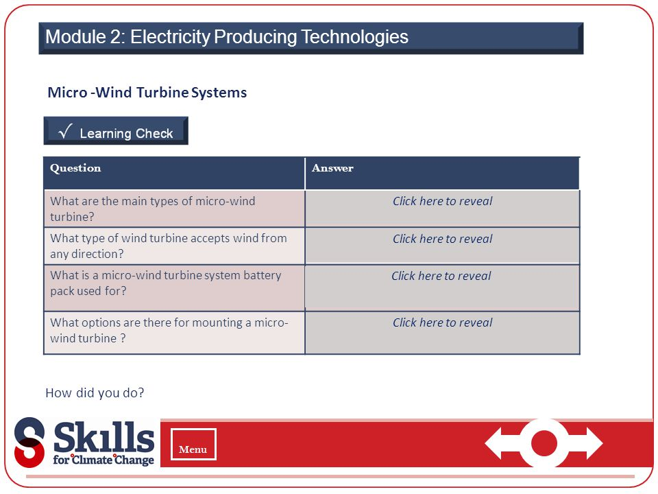 Module 2: Electricity Producing Technologies