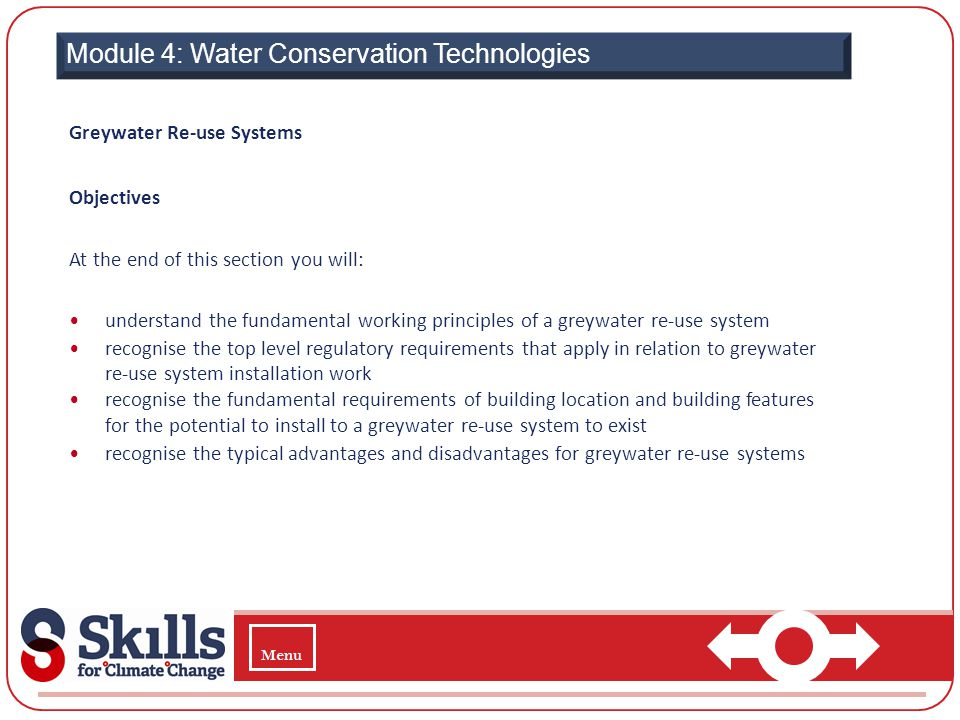  Module 4: Water Conservation Technologies Greywater Re-use Systems