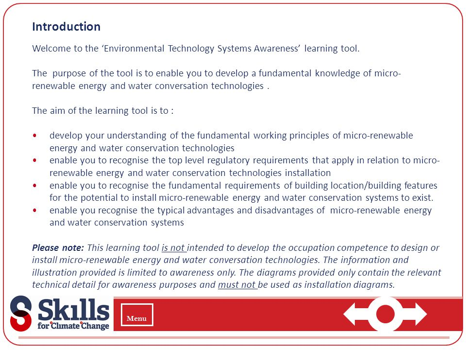 Introduction Welcome to the 'Environmental Technology Systems Awareness' learning tool.