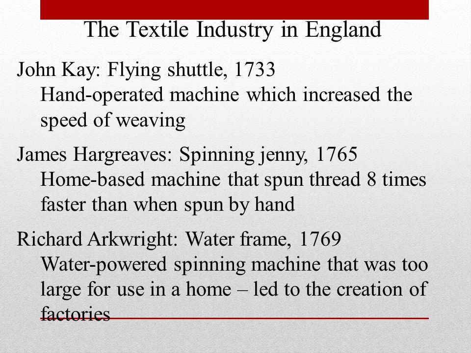 The Textile Industry in England