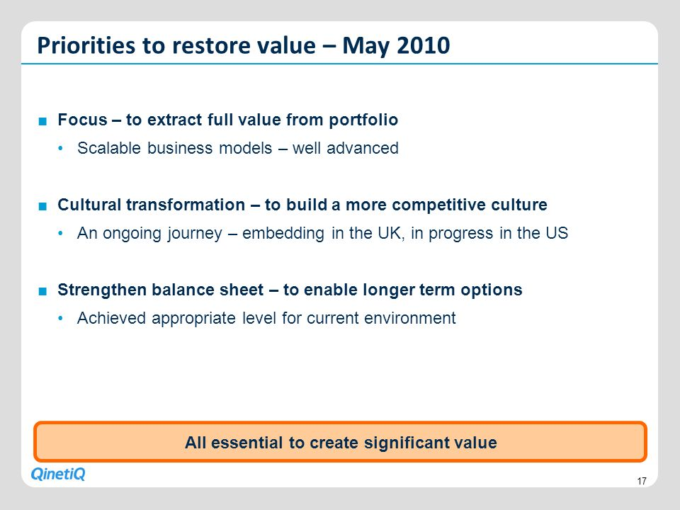 All essential to create significant value