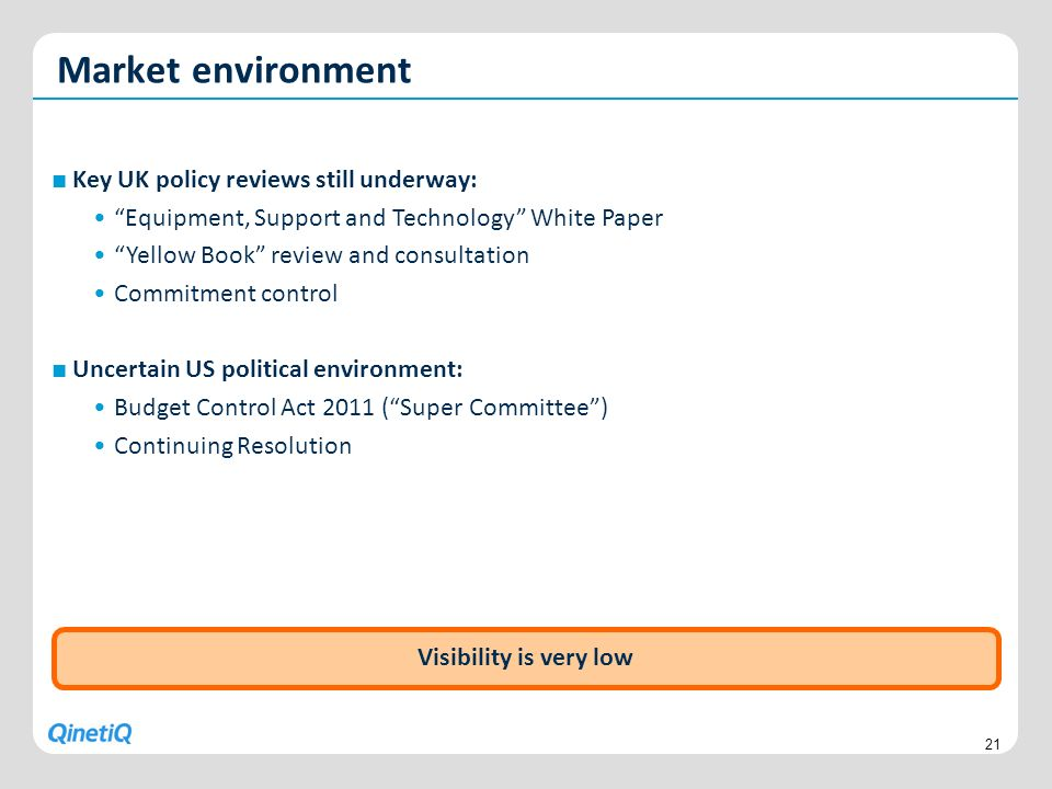 Market environment Key UK policy reviews still underway: