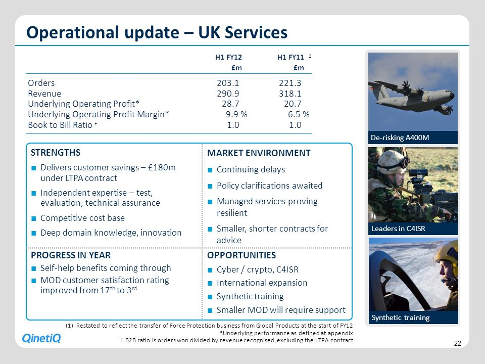 Operational update – UK Services