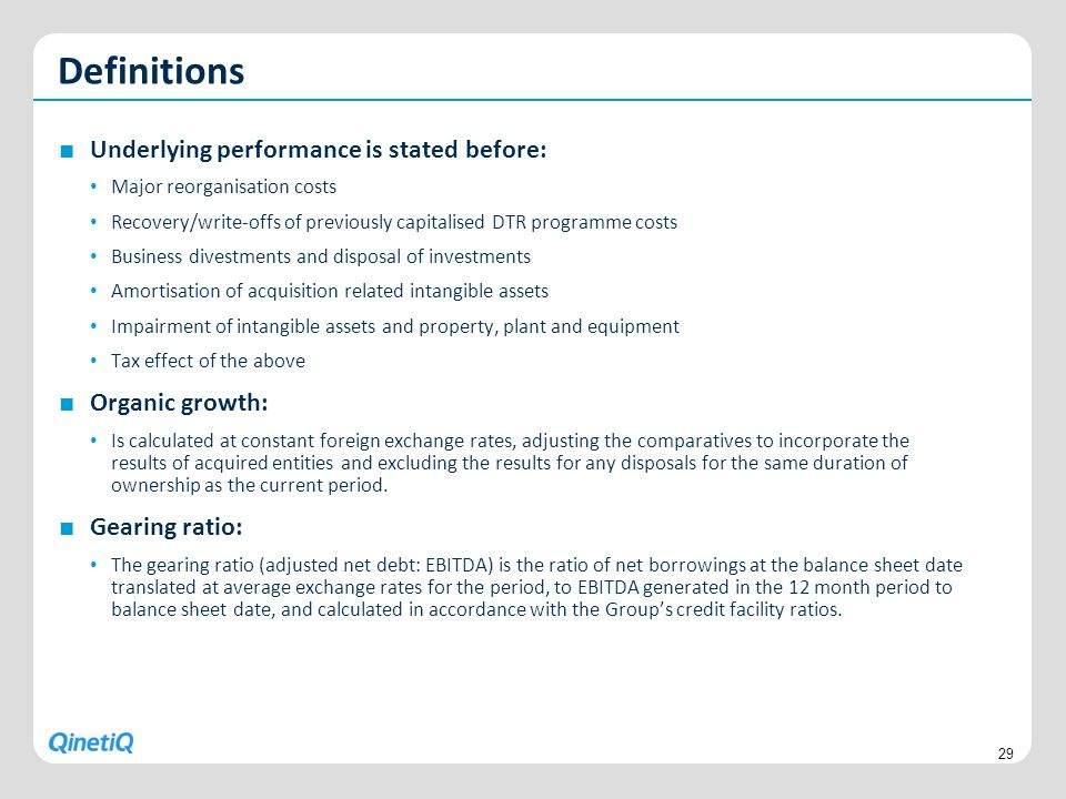 Definitions Underlying performance is stated before: Organic growth: