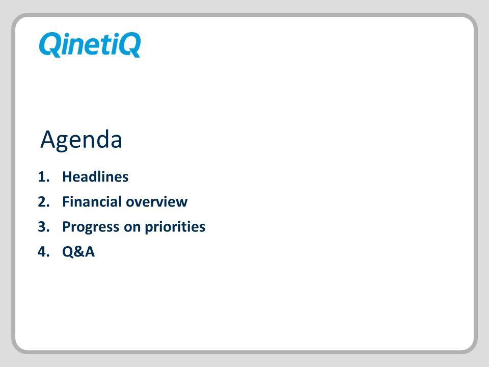 Headlines Financial overview Progress on priorities Q&A