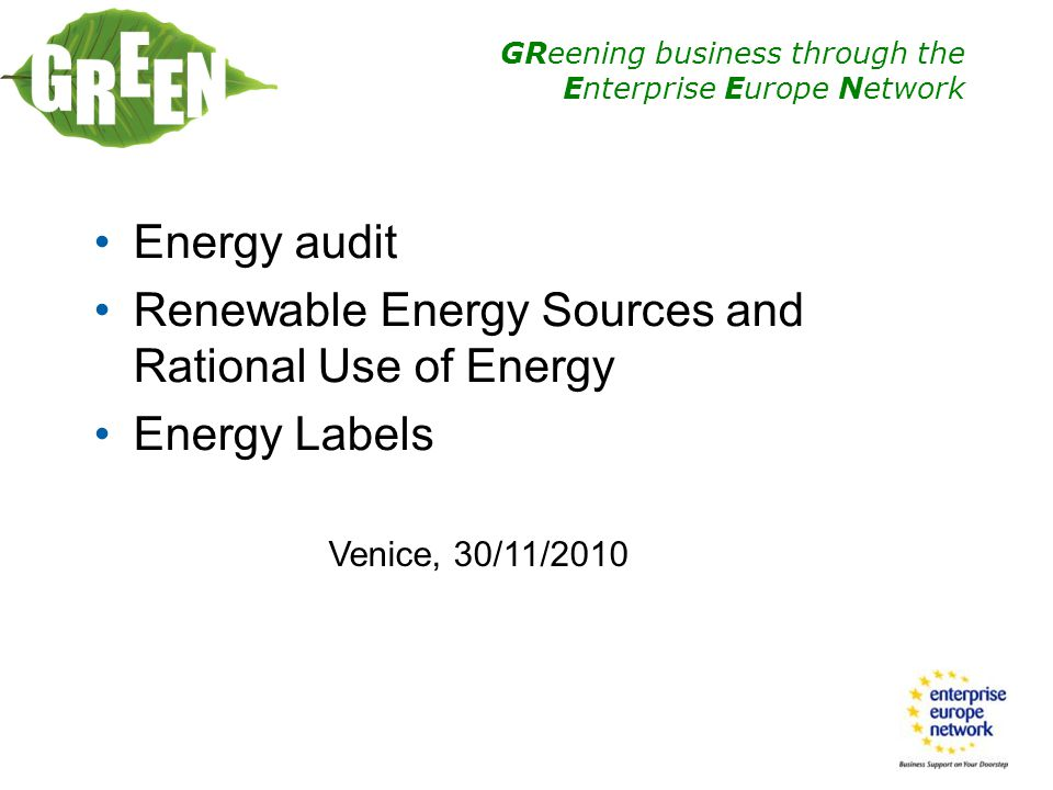 Renewable Energy Sources and Rational Use of Energy Energy Labels