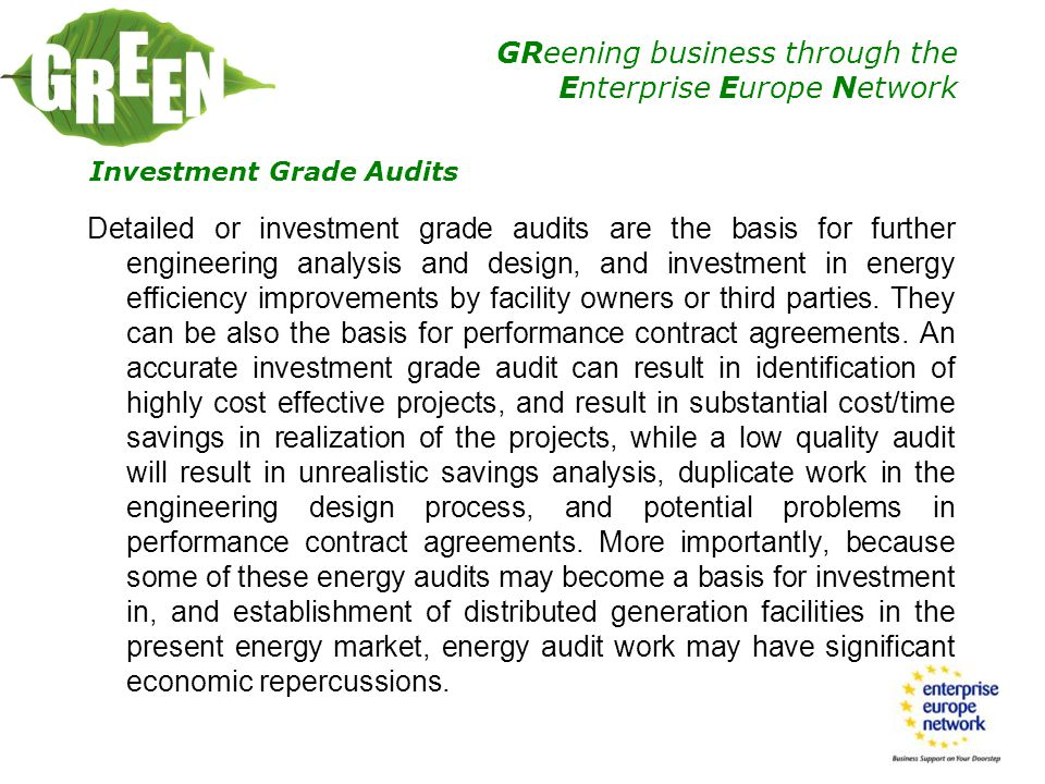 Investment Grade Audits