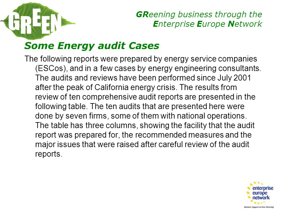 Some Energy audit Cases