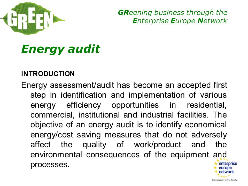 Energy audit INTRODUCTION.
