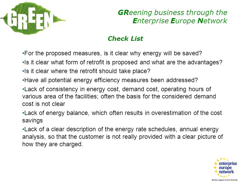 Check List For the proposed measures, is it clear why energy will be saved