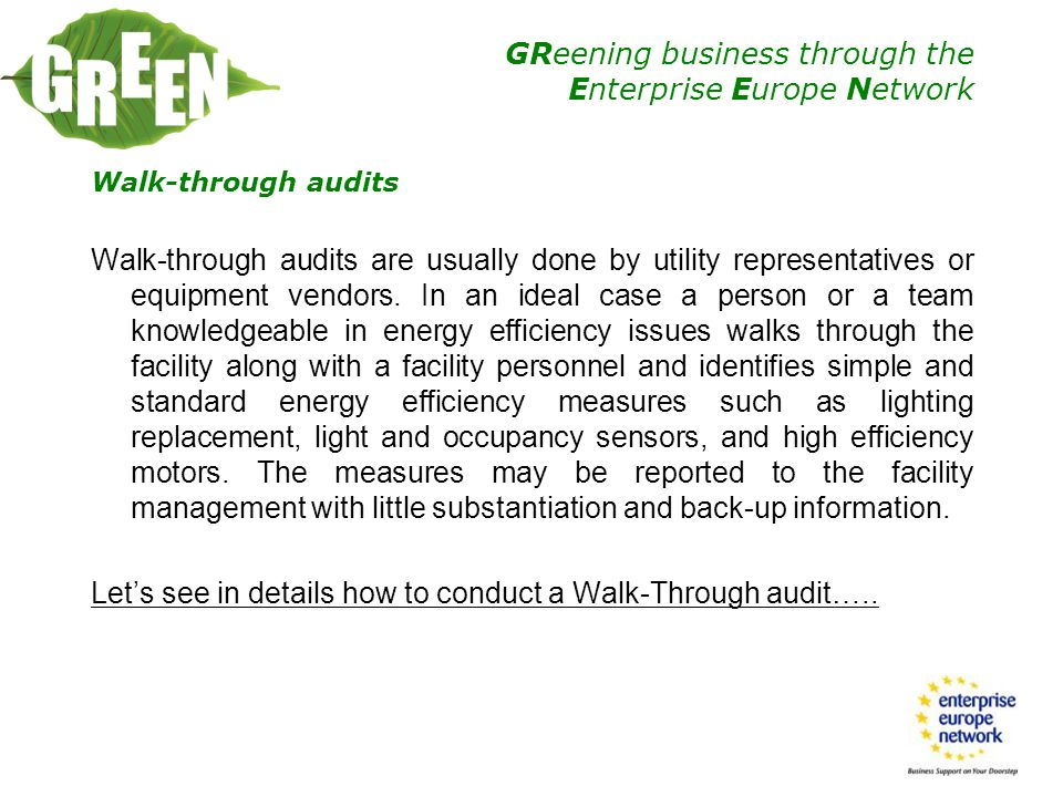 Walk-through audits
