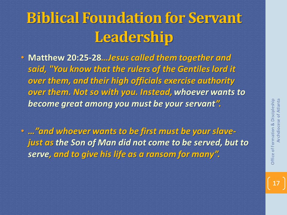 Biblical Foundation for Servant Leadership