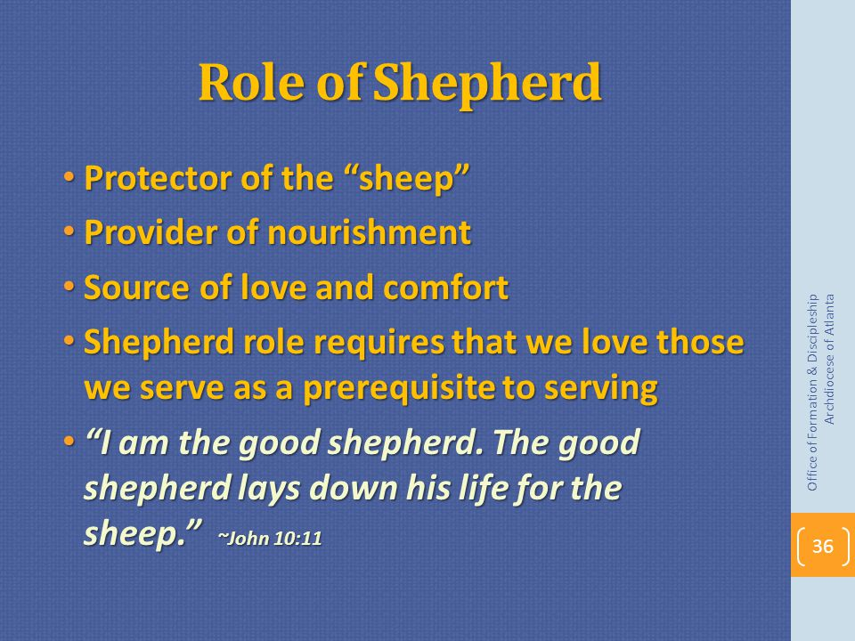 Role of Shepherd Protector of the sheep Provider of nourishment