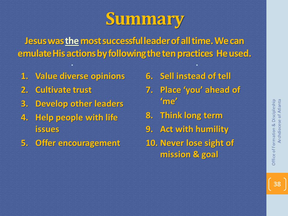 Summary. Jesus was the most successful leader of all time