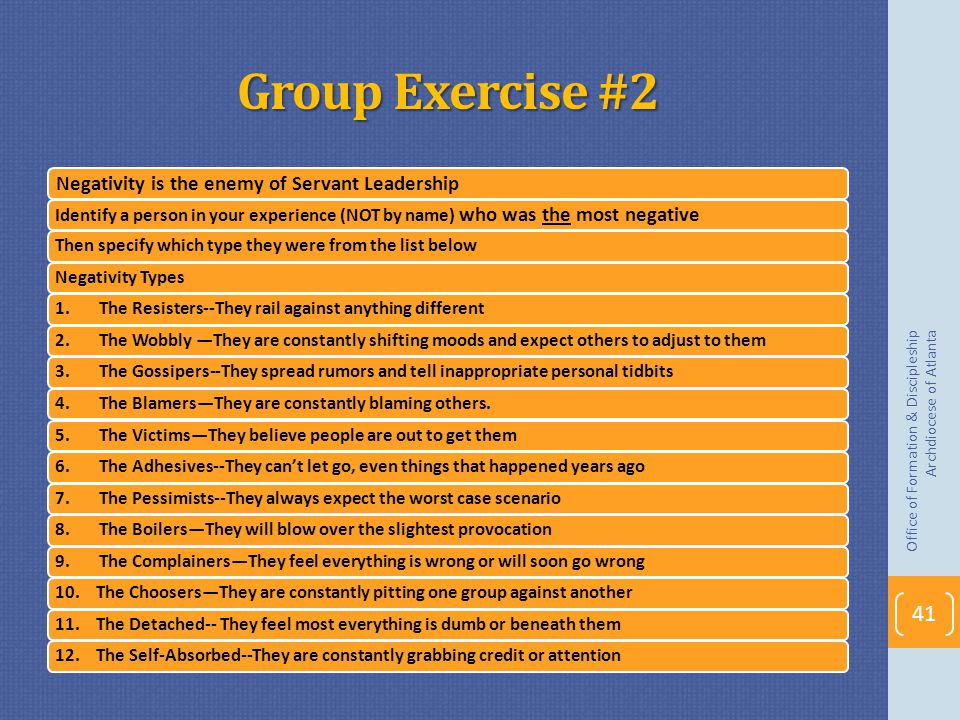 Group Exercise #2 Negativity is the enemy of Servant Leadership