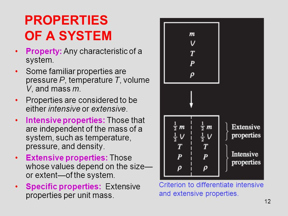 PROPERTIES OF A SYSTEM Property: Any characteristic of a system.