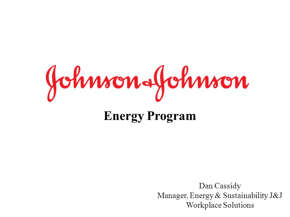 Manager, Energy & Sustainability J&J Workplace Solutions