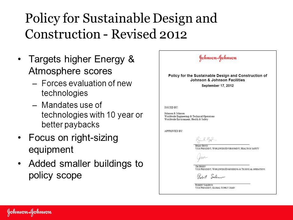 Policy for Sustainable Design and Construction - Revised 2012