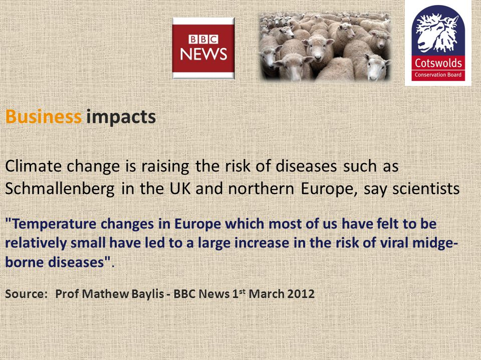 Business impacts Climate change is raising the risk of diseases such as Schmallenberg in the UK and northern Europe, say scientists Temperature changes in Europe which most of us have felt to be relatively small have led to a large increase in the risk of viral midge-borne diseases . Source: Prof Mathew Baylis - BBC News 1st March 2012