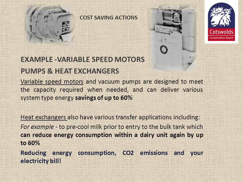 EXAMPLE -VARIABLE SPEED MOTORS PUMPS & HEAT EXCHANGERS
