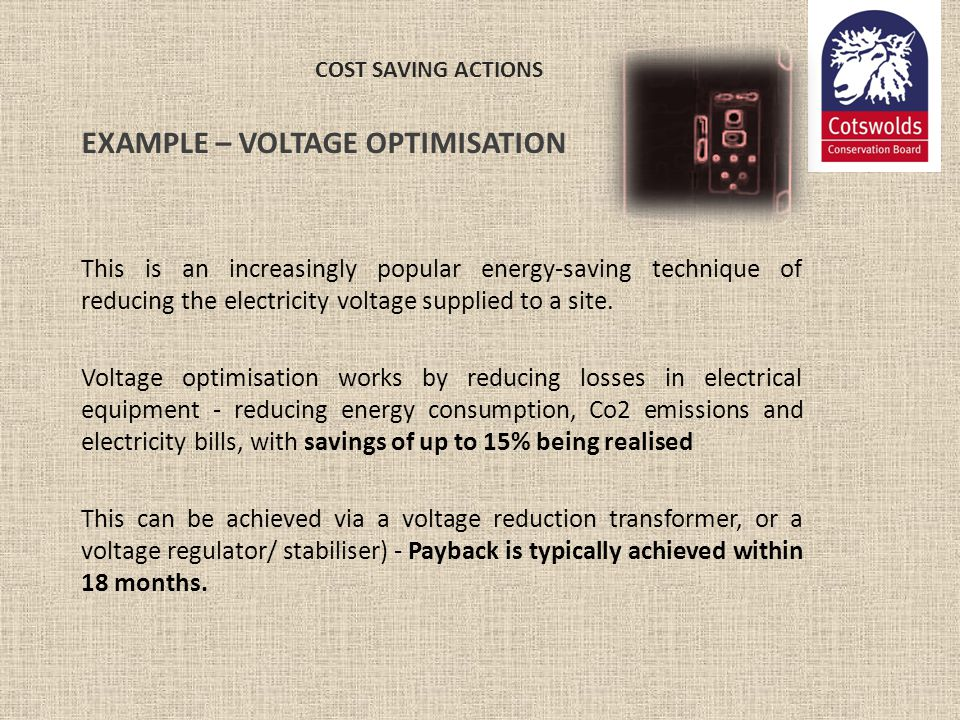 EXAMPLE – VOLTAGE OPTIMISATION