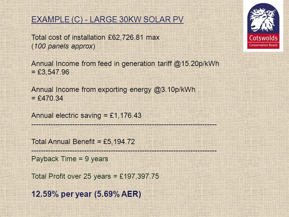 EXAMPLE (C) - LARGE 30KW SOLAR PV