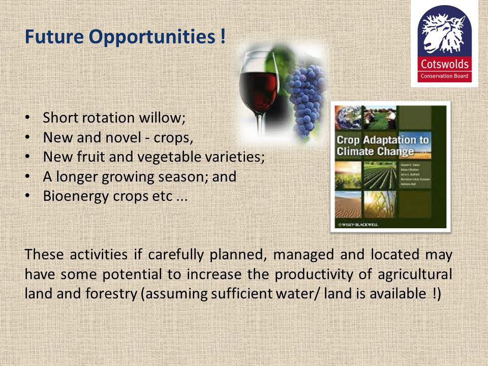 Future Opportunities ! Short rotation willow; New and novel - crops,