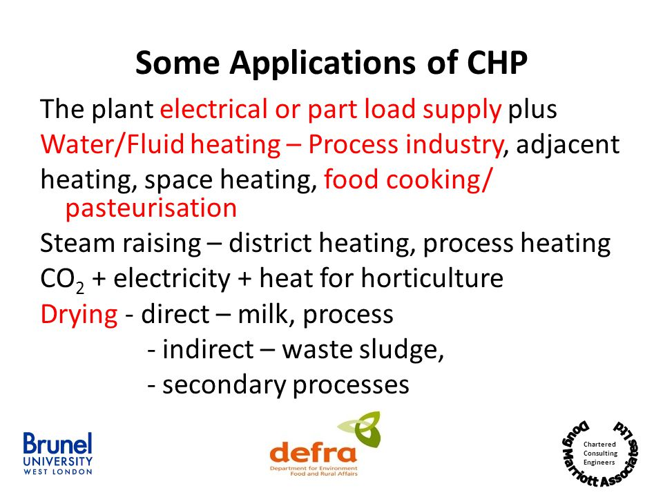Some Applications of CHP