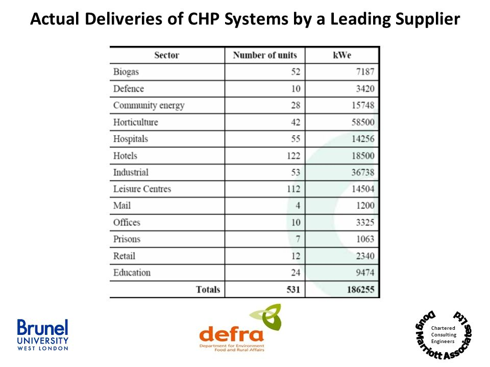 Actual Deliveries of CHP Systems by a Leading Supplier