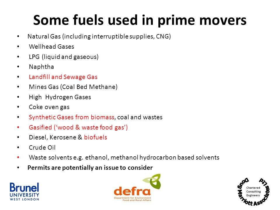 Some fuels used in prime movers