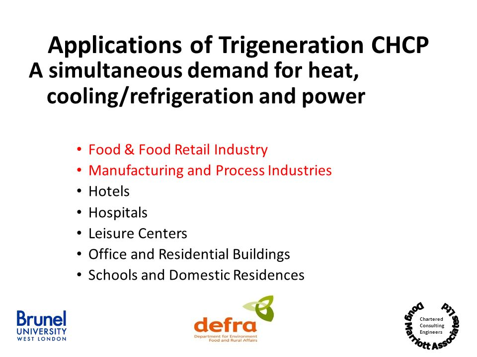 Applications of Trigeneration CHCP