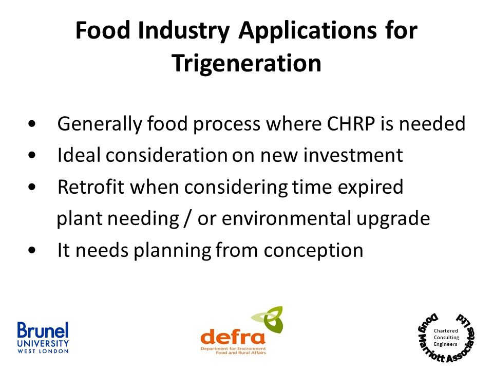 Food Industry Applications for Trigeneration