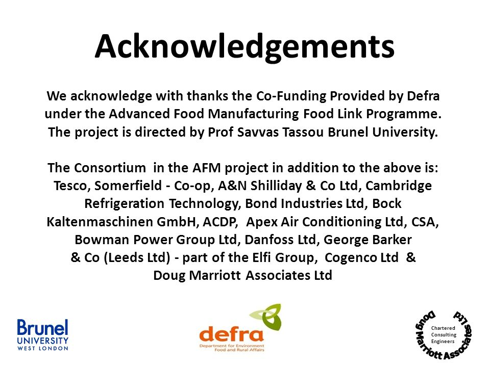 Acknowledgements We acknowledge with thanks the Co-Funding Provided by Defra. under the Advanced Food Manufacturing Food Link Programme.