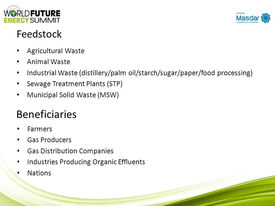 Beneficiaries Feedstock Agricultural Waste Animal Waste