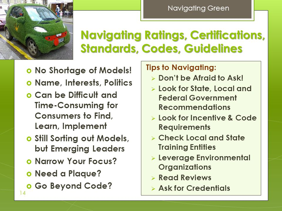 Navigating Ratings, Certifications, Standards, Codes, Guidelines