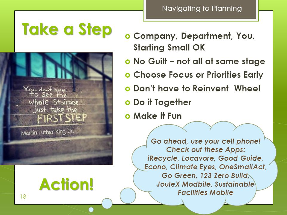 Take a Step Action! Company, Department, You, Starting Small OK