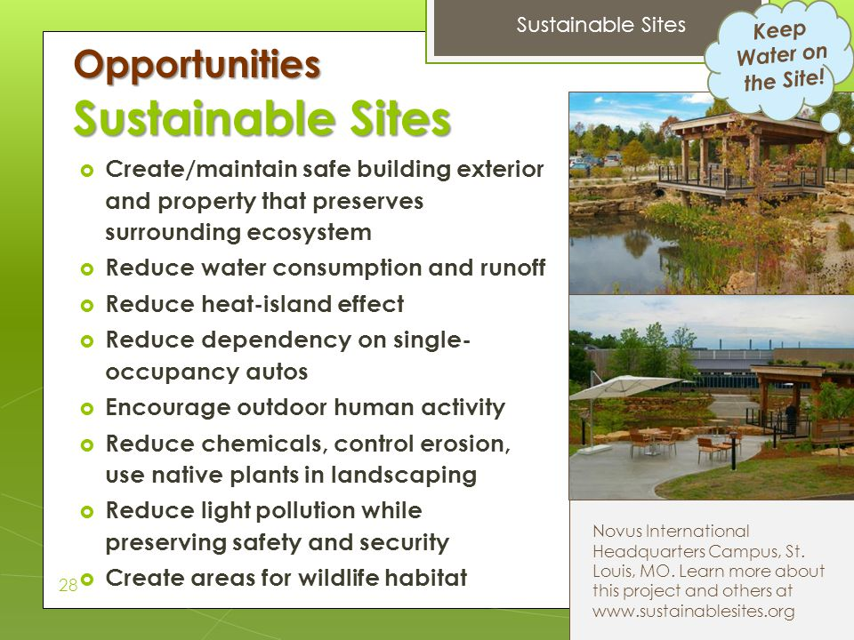 Sustainable Sites Opportunities