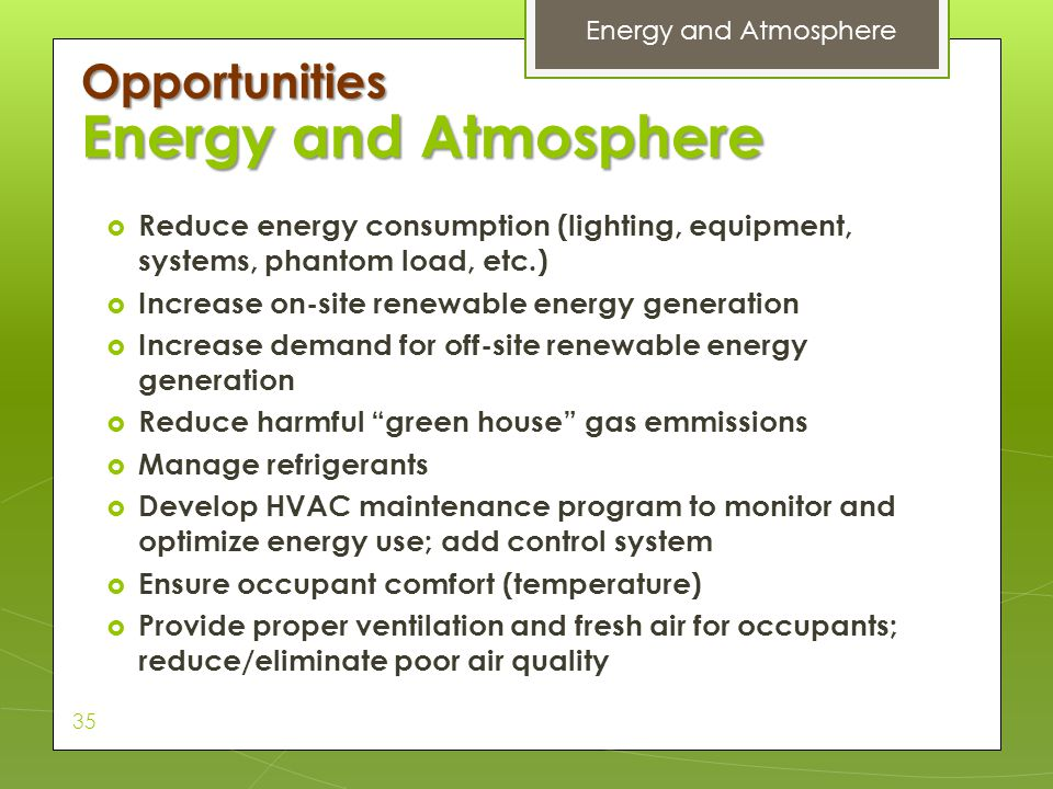 Energy and Atmosphere Opportunities