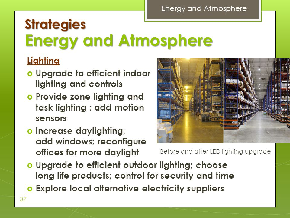 Energy and Atmosphere Strategies Lighting