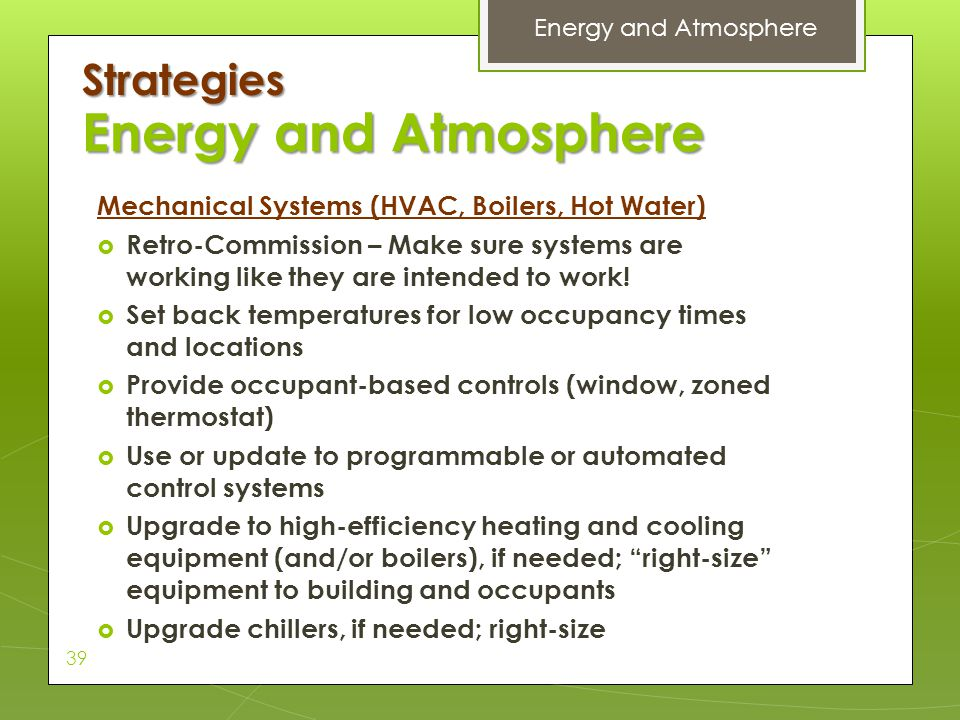 Energy and Atmosphere Strategies