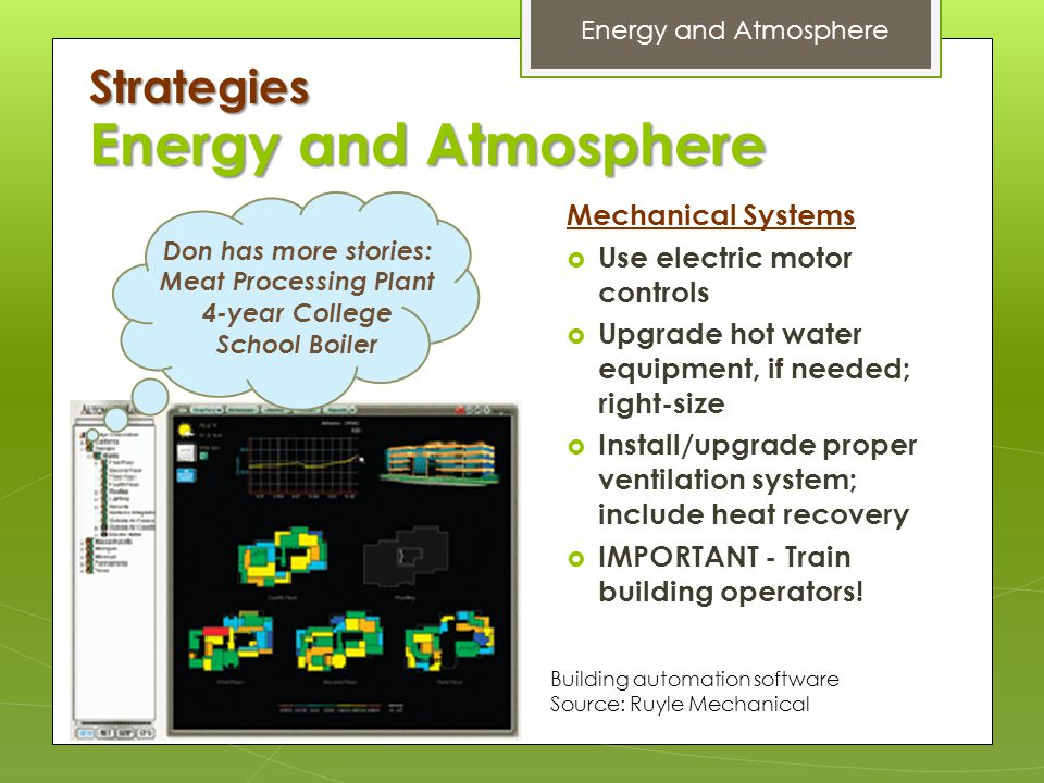 Energy and Atmosphere Strategies Mechanical Systems