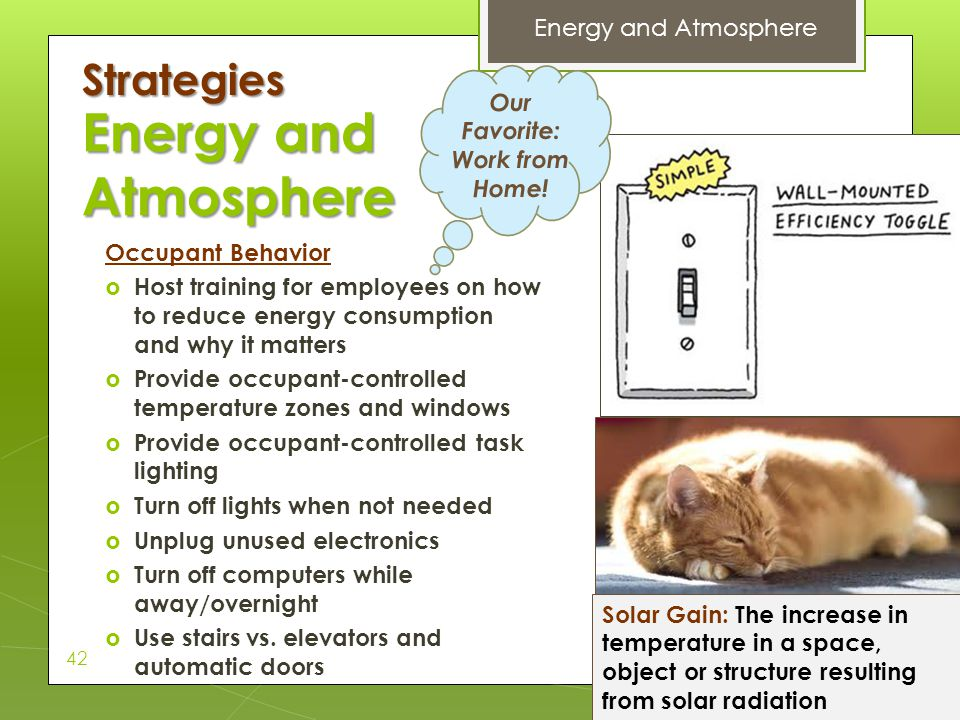 Energy and Atmosphere Strategies Energy and Atmosphere Our Favorite: